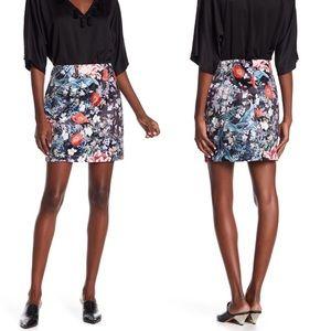 MINKPINK Floral Botanical Silky Satin Mini Skirt L
